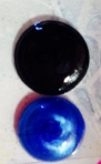 Blue my baked drop & black is a purchased dot(no package so no name brand)