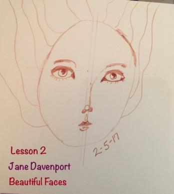 Practice for Jane Davenport's Beautiful Faces Workshop Lesson 2.