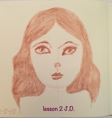 This drawing is also practice for Jane Davenport 'S Beautiful Faces Workshop Lesson 2.