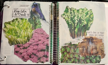 Partial journal,spread for online class, Women Unleashed.